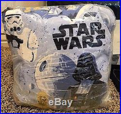 Pottery Barn Kids STAR wars Millennium Falcon FULL quilt SHAMS new hope sheet ++