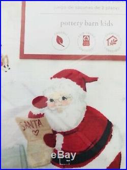 Pottery Barn Kids Santa Full Sheet Set Christmas Heritage Organic COTTON Merry