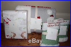 Pottery Barn Kids Santa Full quilt 2 std sham cotton sleigh sheet set Christmas