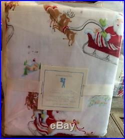 Pottery Barn Kids Santa Holiday QUEEN quilt std shams sleigh sheet set 8pc