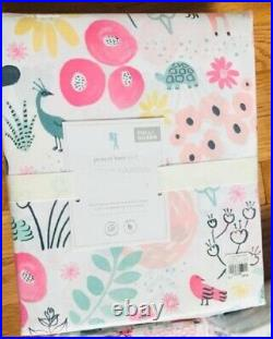 Pottery Barn Kids Sasha's Garden Sheet Set Queen Pink Woodland 4pc New