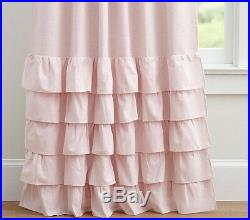 Pottery Barn Kids Set/2 Pink Ruffle Bottom Blackout 96 Linen Curtains Panels