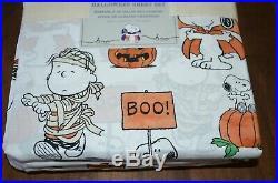 Pottery Barn Kids Snoopy & Friends Halloween Peanuts Cotton Queen Sheet Set NEW