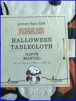 Pottery Barn Kids Snoopy Peanuts Halloween Tablecloth New 70 X 90