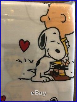 Pottery Barn Kids Snoopy Peanuts Valentines Full Sheet Set New Organic New