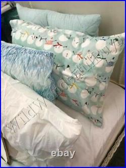 Pottery Barn Kids Snowman Sheet Set Powder Blue Queen Cheery Flannel Set