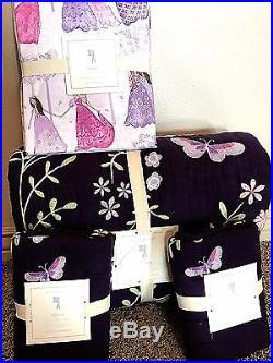 Pottery Barn Kids Sonja Embroidered PRINCESS Full quilt shams sheet set dress up