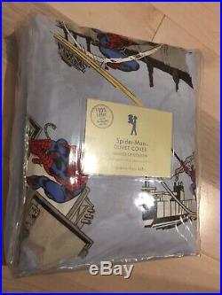 Pottery Barn Kids Spider-Man Full Queen Duvet Cover Cotton Organic NEW
