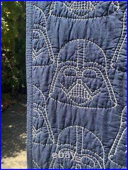 Pottery Barn Kids Star Wars Darth Vader Full/Queen Embroidered Quilt RARE Navy