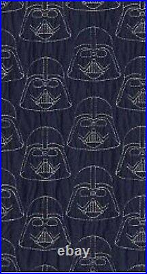 Pottery Barn Kids Star Wars Darth Vader Navy Blue Full Queen Quilt Stitched HTF
