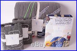 Pottery Barn Kids Star Wars x-wing TIE fighter quilt shams Empire full sheet set