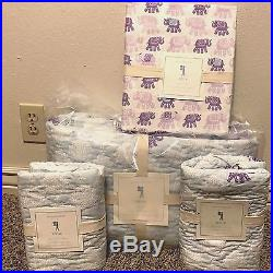 Pottery Barn Kids Stella Elephant FULL quilt 2 standard shams Sheet SET