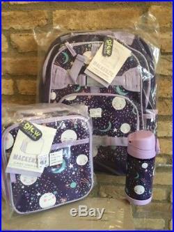 Pottery Barn Kids Sun Moons Large Backpack Lunch Box Water bottle Glow In Dark