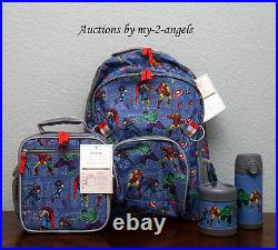 Pottery Barn Kids Superhero MARVEL Large Backpack Lunch Bag Water Bottle Thermos