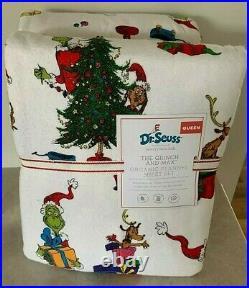 Pottery Barn Kids Teen Grinch & Max QUEEN flannel SHEET set CHRISTMAS