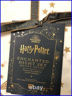 Pottery Barn Kids Teen Harry Potter Enchanted Night Sky Duvet F/q Gold New