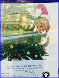 Pottery Barn Kids The Grinch & Max Cotton Full Sheet Set Dr Seuss Christmas