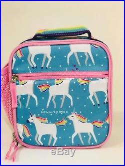 Pottery Barn Kids Unicorn Large Backpack Aqua Lunchbox Water Thermos Girls Set 5