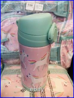 Pottery Barn Kids Unicorn Large Backpack Lunch Box Water bottle Set Pink No Mono