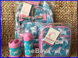 Pottery Barn Kids Unicorn Small Backpack Lunch Box Water bottle Thermos Aqua NWT