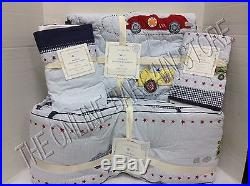 Pottery Barn Kids Vintage Roadster Cars Baby Quilt Bumper Sham Crib bed Skirt 4p