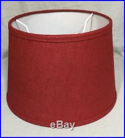 Pottery Barn Kids White Metal Anchor Table Lamp+Red Bradford Jute Lamp Shade