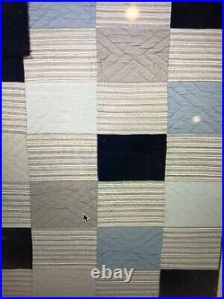 Pottery Barn Kids Wilder Patchwork Full Queen Quilt Comforter 2 Euro Shams Navy