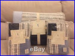 Pottery Barn Kids Wilder Patchwork Quilt Euro Shams Full Queen Navy Blue $270+tx