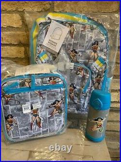 Pottery Barn Kids Wonder Woman Large Backpack Lunchbox Water Bottle Set Girls