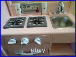 Pottery Barn Kids retro Play Kitchen all-in-1 plus extras VERY NICE pink toys
