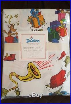 Pottery Barn Kids teen Dr Seuss GRINCH FULL QUEEN SHEET Christmas holiday cotton