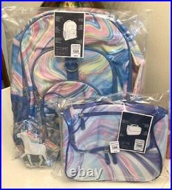 Pottery Barn LARGE Tech backpack +Lunch bag school set pink purple +unicorn pack