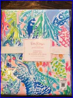 Pottery Barn Lilly Pulitzer Mermaid Cove Organic Full Sheet Set NWT Kids