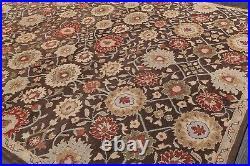 Pottery Barn Mona Oriental Handmade Wool Brown Floral Area Rug 10' x 14