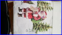 Pottery Barn Nostalgic Santa Sheet Set, Queen