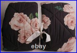 Pottery Barn PB Emily & Meritt Bed of Roses King comforter, black & blush pink