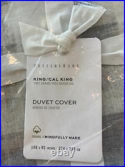 Pottery Barn Rhett Check Organic Percale Duvet Cover, King, /Cal. King, Gray