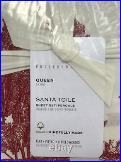 Pottery Barn Santa Toile 100% Organic Queen Sheet Set Red Christmas Holiday NEW