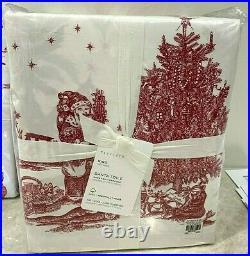 Pottery Barn Santa Toile KING sheet set Christmas Holiday