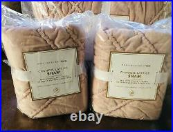 Pottery Barn Teen Chamois Lattice Full Queen Quilt Dusty Rose Pink Soft