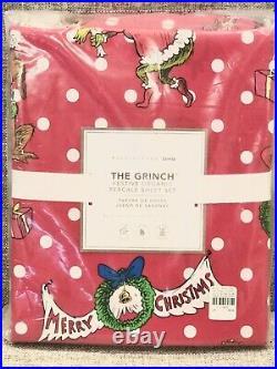 Pottery Barn Teen Dr. Seuss's Grinch Festive Cotton Queen Sheet Set Christmas