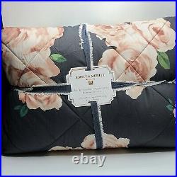 Pottery Barn Teen Emily & Meritt BED OF ROSES Twin & Sham Comforter Black Pink