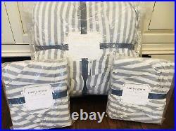 Pottery Barn Teen Emily & Meritt Chambray Stripe Full Queen Comforter Euro Shams