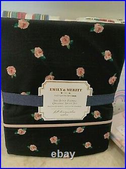 Pottery Barn Teen Emily & Meritt Ditsy Floral Organic QUEEN sheet set black pink