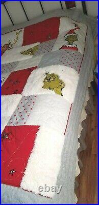 Pottery Barn Teen GRINCH CHRISTMAS QUILT Dr. Seuss Full / Queen NWOT #16