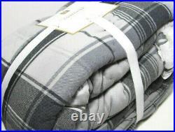 Pottery Barn Teen Gray Plaid Sherpa Aspen Plaid Full Queen Comforter 2 Shams New