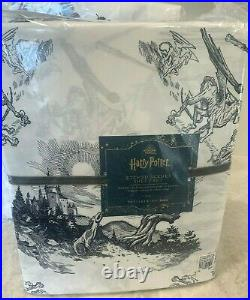 Pottery Barn Teen Harry Potter etched scenes KING sheet set