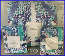 Pottery Barn Teen Kaleidoscope paisley FULL QUEEN comforter 2 shams purple