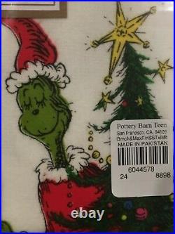 Pottery Barn Teen Kids FULL Organic Flannel Sheet Set Dr Seuss THE GRINCH & MAX