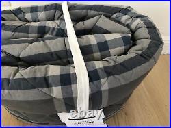 Pottery Barn Teen Xander Plaid Full Queen Comforter Quilt White Gray